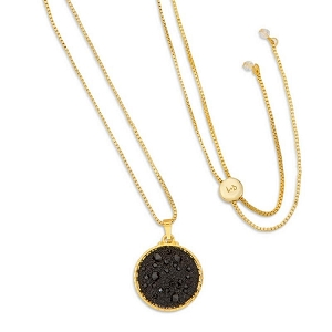 Kelsey Pave Necklace In Jet Gold