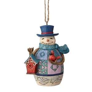 Mini Snowman With Birdhouse Ornament 6001518