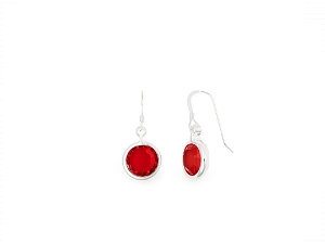 July Ruby Birth Month Swarovski® Earrings Silver