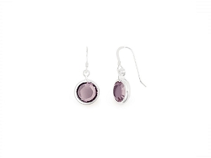 June Light Amethyst Birth Month Swarovski® Earrings Silver
