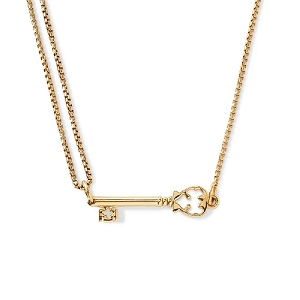 Skeleton Key Pull Chain Necklace Gold