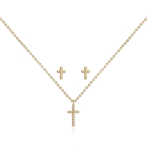 Sentiment Set Faith Cross Earrings and Necklace Gold KLJ3183
