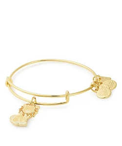 Lion Charm Bangle Bracelet Shiny Gold Finish