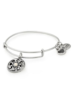Lunar Phase Charm Bangle Bracelet Silver