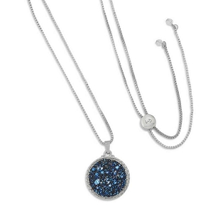 Kelsey Pave Necklace In Metallic Blue Silver