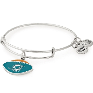 Miami Dolphins Football Color Infusion Charm Bangle Silver