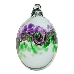 Mini Easter Egg Glass Ornament Purple Green