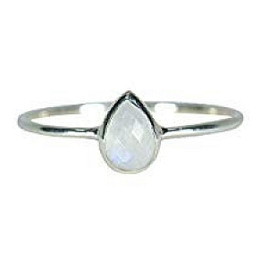 Silver Teardrop Moonstone Ring Size 5