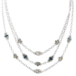 Anvil Timeless Triple Strand Necklace Pave Accents N3958-A2F4
