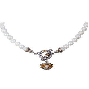 Pearl in Shell String of Knotted Pearls Necklace N4054-ABF4