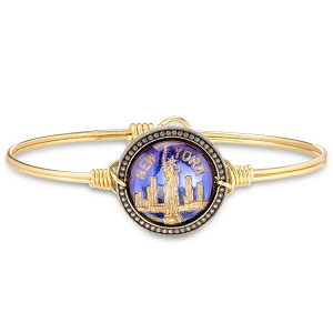 New York City Intaglio Brass Bangle Bracelet 7.0