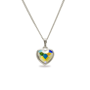 Crystal AB Heart Pendant Necklace Silver NK143S