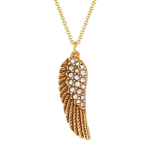 Angel Wing Necklace in Crystal Gold