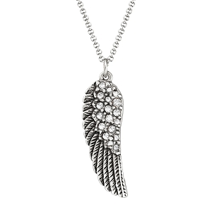 Angel Wing Necklace in Crystal Silver