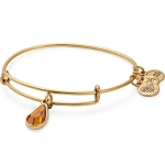 November Birth Month Charm Bangle With Swarovski Crystal Gold