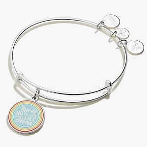 Wizard of Oz There Is No Place Like Home Rainbow Charm Bangle Shiny Silver