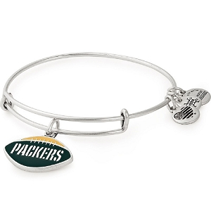 Green Bay Packers Football Color Infusion Charm Bangle Silver