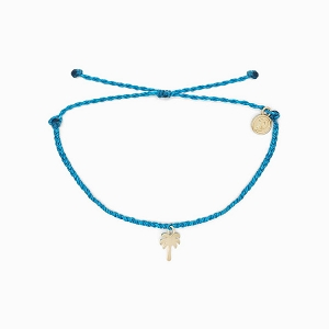 Palm Tree Bracelet Neon Blue Gold