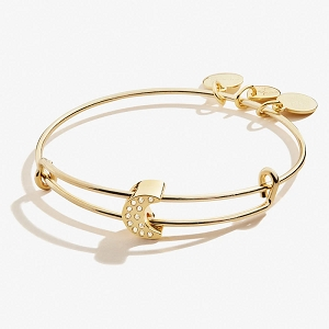 Pave Crystal Moon Symbol Bead Charm Bangle Shiny Gold