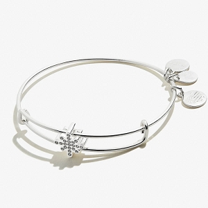Pave Crystal Star Symbol Bead Charm Bangle Shiny Silver