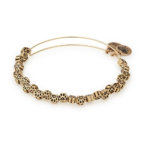 Paw Print Beaded Bangle Gold