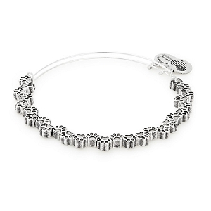 Paw Print Beaded Bangle Silver