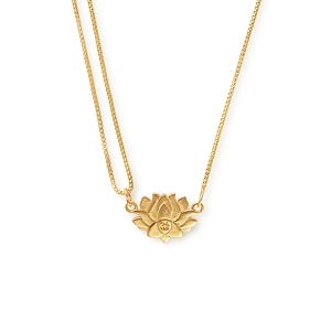 Precious Metals Lotus Peace Petals Pull Chain Necklace 14 KT GP