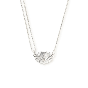 Precious Metals Lotus Peace Petals Pull Chain Necklace Silver