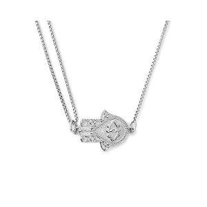 Hand of Fatima Pull Chain Necklace Silver