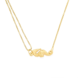 Seahorse Pull Chain Necklace Gold
