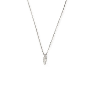 Feather Pull Chain Necklace Silver