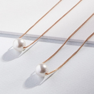White Sea Sultry Necklace with Swarovski Crystal Pearls Rose Gold