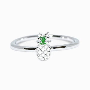 Pineapple Enamel Silver Ring Size 5