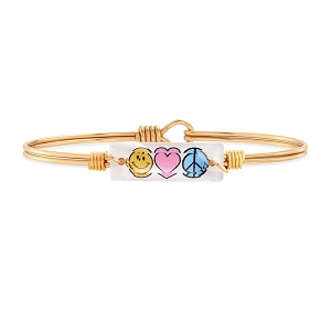 Peace Love + Happiness Bangle Bracelet Gold 7.0