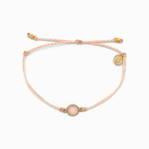 Rose Quartz Charm Bracelet Gold