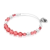 Rouge Beaded Bangle with Swarovski Crystals Shiny Silver