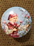 Edna Hibel Flower Girl Round Box 3 1/2