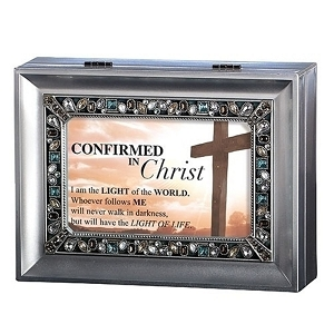 Confirmed in Christ Large Silver Jeweled Music Box S0030