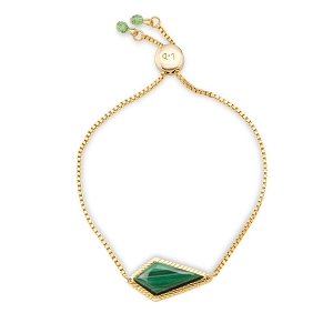 Sloane Slider Bracelet in Malachite18 kt gp