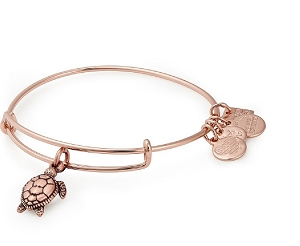 Sea Turtle Charm Bangle Rose Gold
