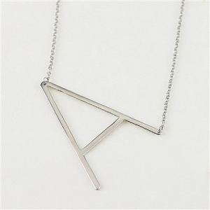 Silver large sideways initial necklace A