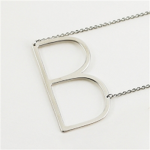 Silver large sideways initial necklace B