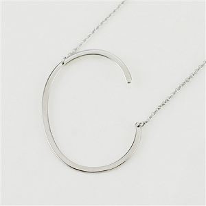 Silver large sideways initial necklace C