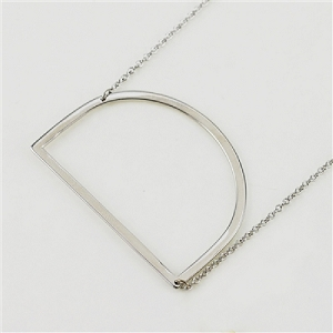 Silver Large Sideways Initial Necklace D