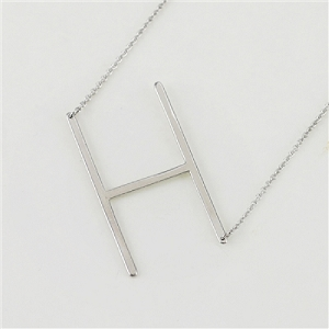 Silver Large Sideways Initial Necklace H