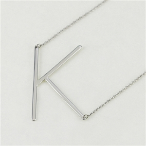 Silver Large Sideways Initial Necklace K