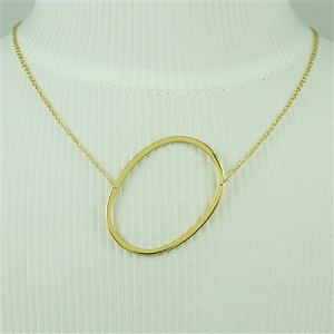 Gold Large Sideways Initial Necklace O