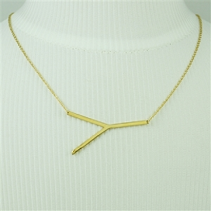 Gold Large Sideways Initial Necklace Y