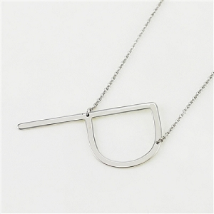 Silver Large Sideways Initial Necklace P