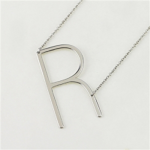 Silver Large Sideways Initial Necklace R